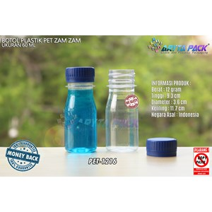 Dari Botol plastik PET 60ml zam-zam tutup segel biru (PET1216) 0