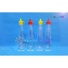 Botol plastik PET kecap ulir 150ml tutup fliptop kuning (PET1197)