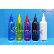 Botol plastik PET 250ml Joni biru tutup tinta biru (PET1224)