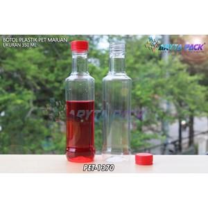 Botol plastik minuman 350ml marjan kecil tutup merah (PET1370)