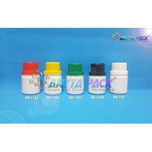 Botol plastik HDPE 50ml labor putih susu tutup hitam (HD1160)