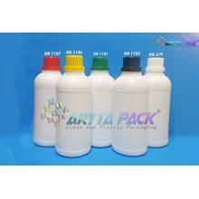 Botol plastik HDPE 500ml labor putih susu tutup hitam (HD1184)