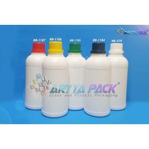 Botol plastik HDPE 500ml labor putih susu tutup merah (HD1187)