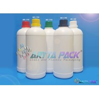 Botol plastik HDPE 1 liter labor putih susu tutup putih (HD380)