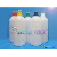 Botol plastik HDPE 1 liter labor natural tutup hitam (HD1188)