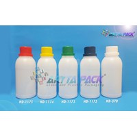 Botol plastik HDPE 250ml labor natural tutup hitam (HD1172) 1