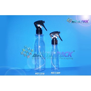 Botol plastik PET 250ml Amos tutup spray pistol hitam (PET1310)