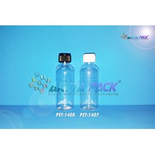 Botol plastik PET 60ml Lena natural tutup ulir hitam (PET1408)