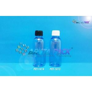Botol plastik PET 60ml Lena biru tutup ulir putih (PET1413)