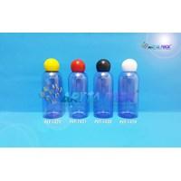 Botol plastik PET 60ml Lena biru tutup  merah globe (PET1421) 1