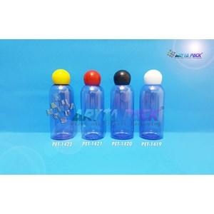 Botol plastik PET 60ml Lena biru tutup  merah globe (PET1421)