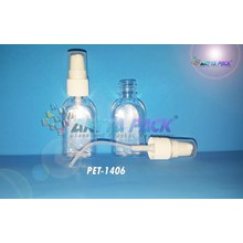 Botol plastik PET 30ml kosmetik gepeng tutup pump (PET1406)