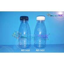 Botol plastik minuman 350ml kale cantik tutup segel putih (PET1431)
