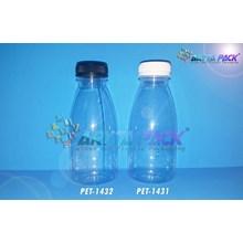 Botol plastik minuman 350ml kale cantik tutup segel hitam (PET1432)