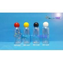 Botol plastik PET 60ml Lena natural tutup putih globe (PET1439)