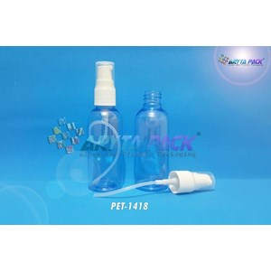 Botol plastik PET 60ml lena biru tutup pump (PET1418)