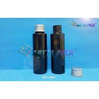 Botol plastik PET Lena siku hitam 100ml tutup kaleng silver (PET1444)