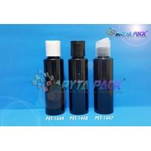 Botol plastik PET Lena siku 100ml hitam tutup press on hitam (PET1448)