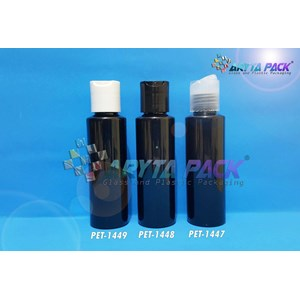 Botol plastik PET Lena siku 100ml hitam tutup press on hitam (PET1448)