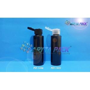 Botol plastik PET Lena siku 100ml hitam tutup flip top hitam (PET1446)