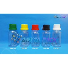Botol plastik pet 100ml labor tutup segel merah (PET907)