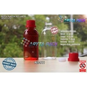 Botol plastik pet 250ml labor tutup segel merah (PET911)