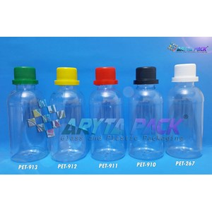 Botol plastik pet 250ml labor tutup segel kuning (PET912)