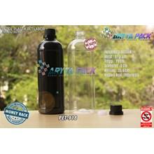Botol plastik pet 1liter labor tutup segel hitam (PET918)
