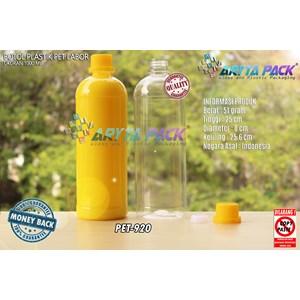 Botol plastik pet 1liter labor tutup segel kuning (PET920)
