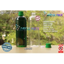 Botol plastik pet 1liter labor tutup segel hijau (PET921)
