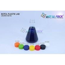 Botol plastik minuman 300ml lab tutup segel orange (PET1833)