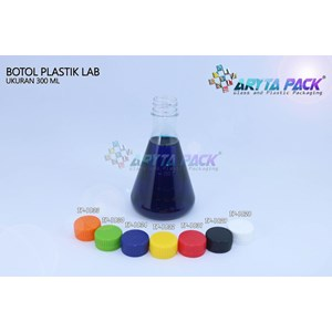 Botol plastik minuman 300ml lab tutup segel biru (PET1834)