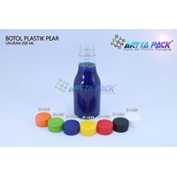 Botol plastik minuman 250ml pear tutup segel putih (PET1835) 1