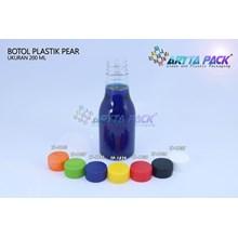 Botol plastik minuman 250ml pear tutup segel hitam (PET1836)