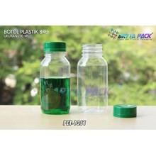 Botol plastik minuman 200ml bkb tutup segel hijau (PET1351)
