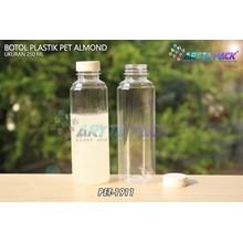 Botol plastik minuman 250ml almond tutup segel putih (PET1911)