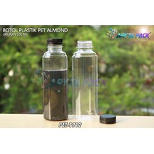 Botol plastik minuman 250ml almond tutup segel hitam (PET1912)