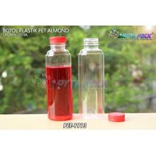 Botol plastik minuman 250ml almond tutup segel merah (PET1913)