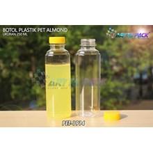Botol plastik minuman 250ml almond tutup segel kuning (PET1914)