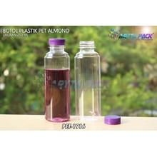 Botol plastik minuman 250ml almond tutup segel ungu (PET1916)