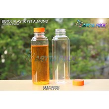 Botol plastik minuman 250ml almond tutup segel orange (PET1918)