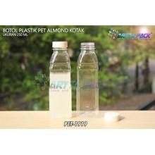 Botol plastik minuman 250ml almond kotak tutup segel putih (PET1919)