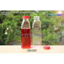 Botol plastik minuman 250ml almond kotak tutup segel merah (PET1921)