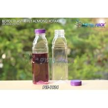 Botol plastik minuman 250ml almond kotak tutup segel ungu (PET1924)