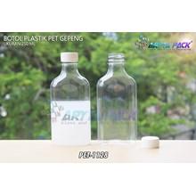 Botol plastik minuman gepeng 300ml tutup segel putih (PET1128)