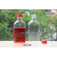Botol plastik minuman gepeng 300ml tutup segel merah (PET1129)