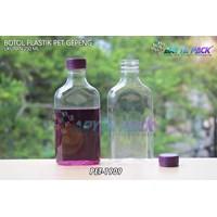 Botol plastik minuman gepeng 300ml tutup segel ungu (PET1909)