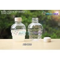 Jual Botol plastik pet 250ml granat c tutup segel putih (PET1900)