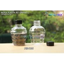 Botol plastik pet 250ml granat c tutup segel hitam (PET1901)