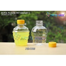 Botol plastik pet 250ml granat c tutup segel kuning (PET1903	)